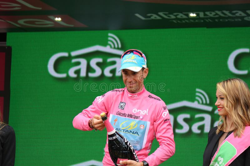 Giro D`Italia 2016. TURIN, ITALY - MAY 29: Cyclist Vincenzo Nibali, Astana Pro Team, stands on the podium after the 21th stage of Giro D`Italia 2016 on May 29 stock photo