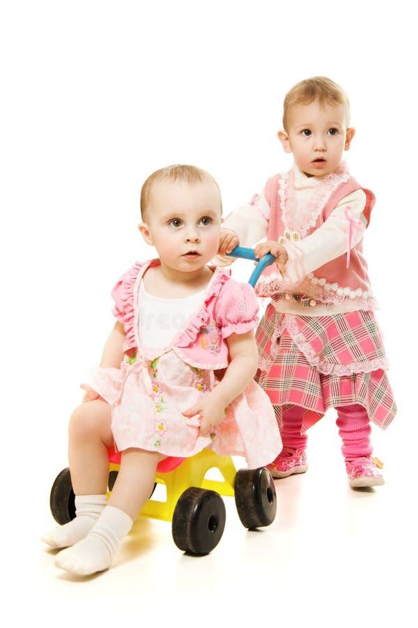 Giro dei bambini con un sidecar fotografia stock