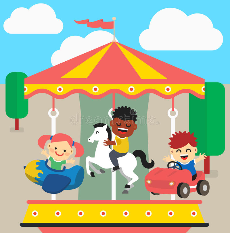 Giro dei bambini sul carosello illustrazione di stock