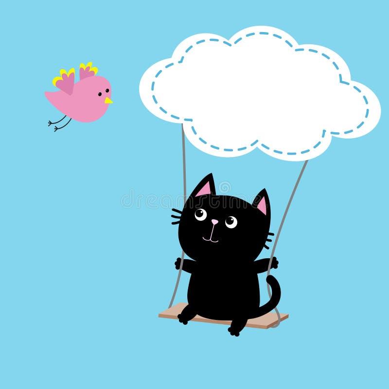 Giro del gatto sull'oscillazione Forma della nuvola Uccello rosa volante Personaggio dei cartoni animati grasso sveglio Raccolta  illustrazione di stock