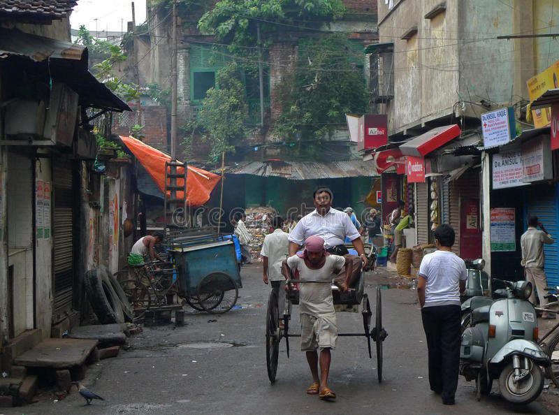 Giro del risciò - Kolkata (Calcutta, India, Asia) fotografie stock libere da diritti