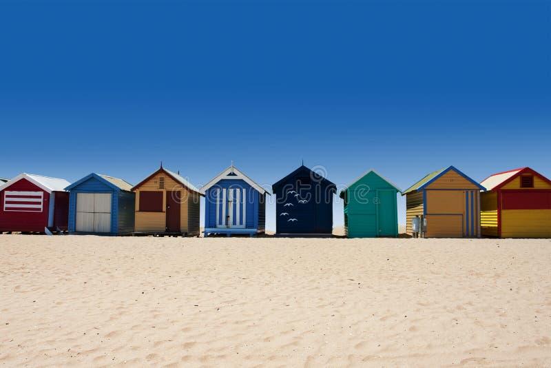 Giro dell'Australia alla spiaggia di Brighton che bagna le caselle fotografie stock libere da diritti