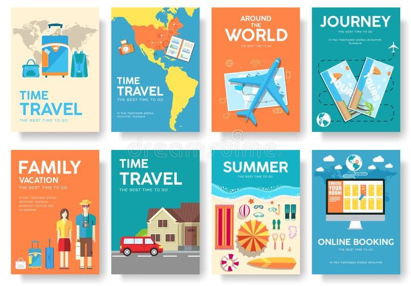 Giro dell'insieme dell'opuscolo di vettore del mondo Icone di corsa Manifesti di viaggio Libretto di viaggio Aletta di filatoio d royalty illustrazione gratis
