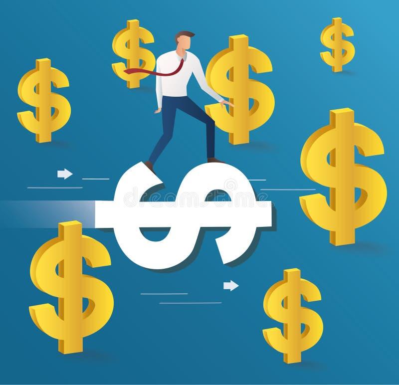 Giro dell'uomo d'affari sull'icona del dollaro e sul fondo blu, vettore dell'illustrazione di concetto di affari illustrazione vettoriale