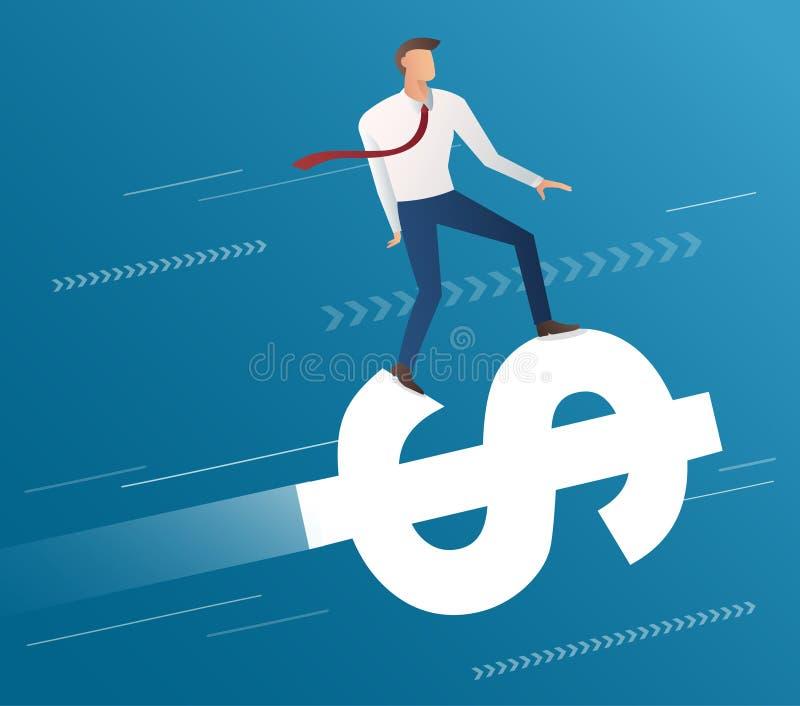 Giro dell'uomo d'affari sull'icona del dollaro e sul fondo blu, vettore dell'illustrazione di concetto di affari royalty illustrazione gratis