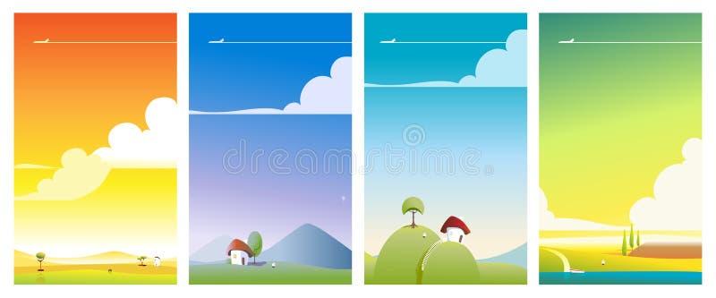 Giro di corsa dell'illustrazione di paesaggio illustrazione di stock