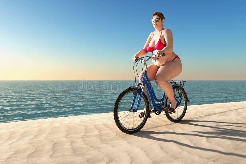 Giro di peso eccessivo della donna sulla bici fotografie stock
