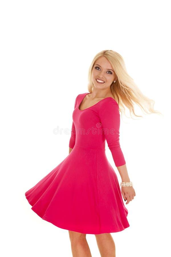 Giro do vestido do rosa da mulher fotos de stock