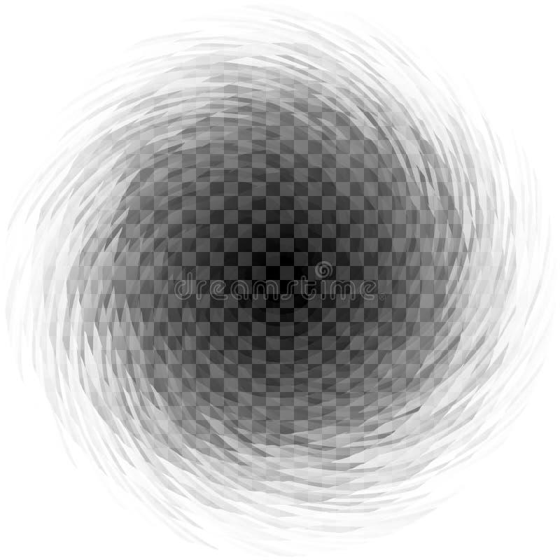 Giro espiral transparente abstrato no fundo quadriculado ilustração do vetor