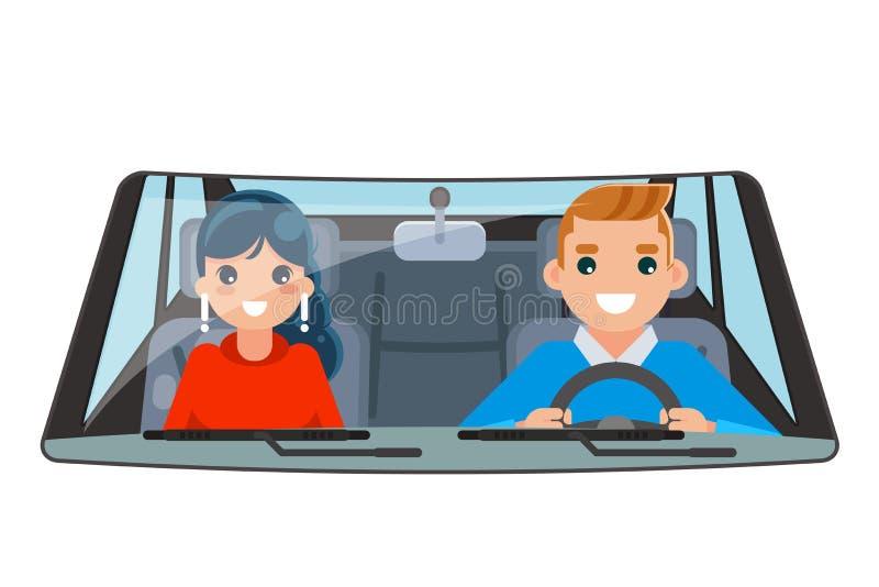 Giro interno della ruota di automobile del passeggero del veicolo dell'autista che determina l'illustrazione piana isolata di vet illustrazione di stock