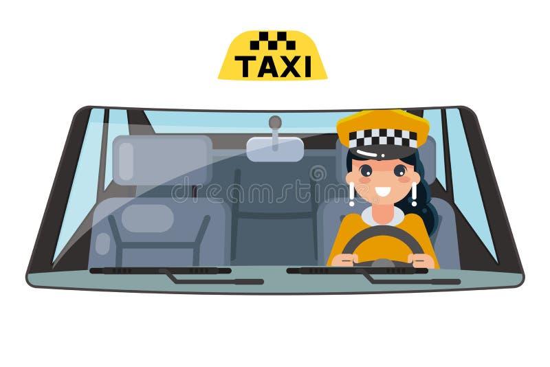 Giro interno della ruota di automobile dell'autista del veicolo del taxi della donna che determina l'illustrazione piana di vetto illustrazione vettoriale