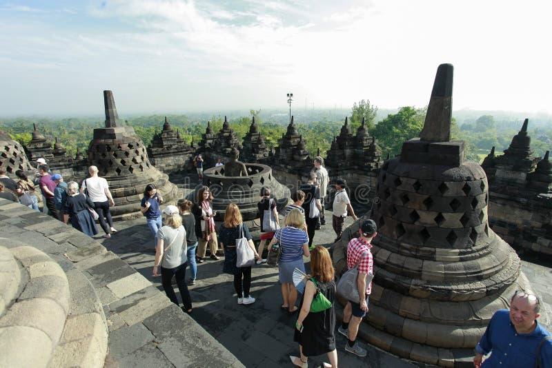 Giro storico di Borobudur fotografie stock libere da diritti