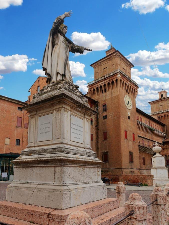 Girolamo Savonarola statua Ferrara Włochy obraz royalty free