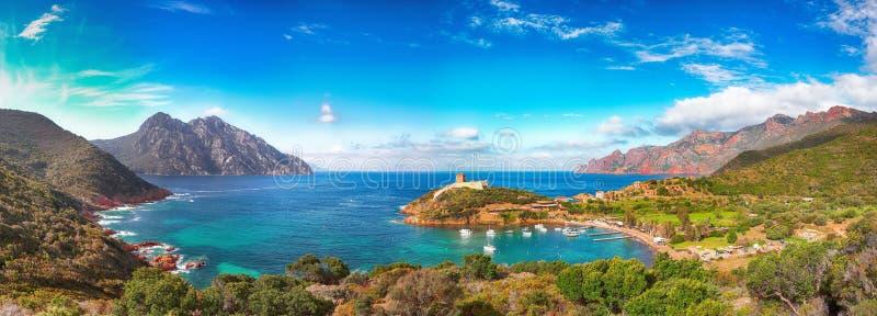 Girolata bay in natural reserve of Scandola royalty free stock photography