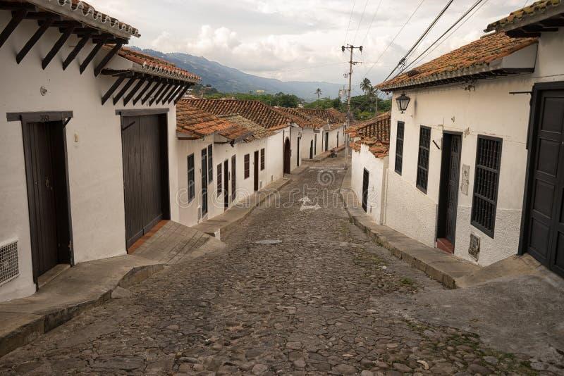 Giron de steile straat van Santander, Colombia royalty-vrije stock fotografie