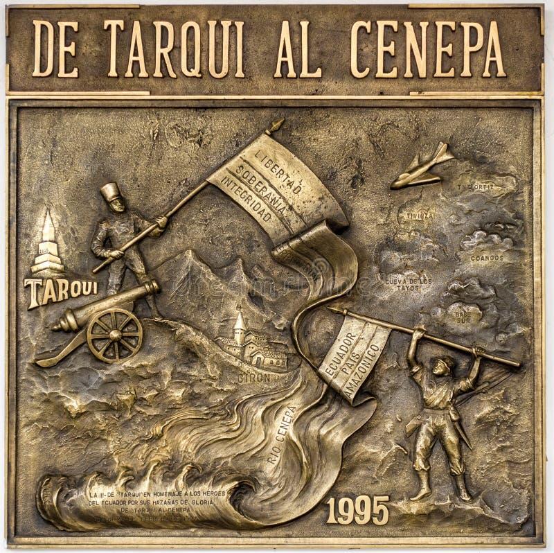 Giron, Ecuador / Jan 2015 - Plaque commemorates Ecuador win in w. Ar with Peru in 1995 royalty free stock photo