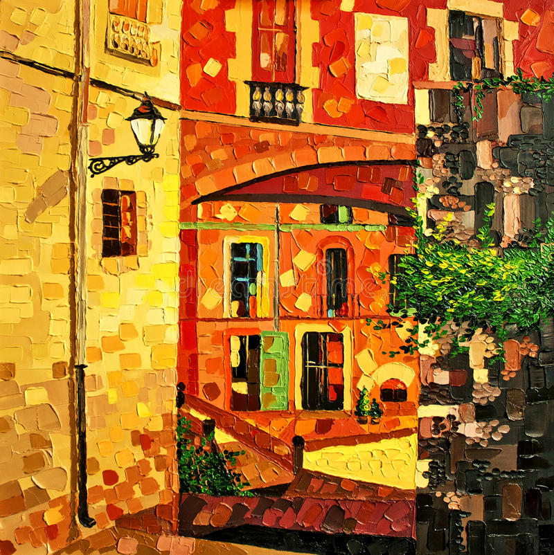 Girona ελαιογραφία απεικόνιση αποθεμάτων