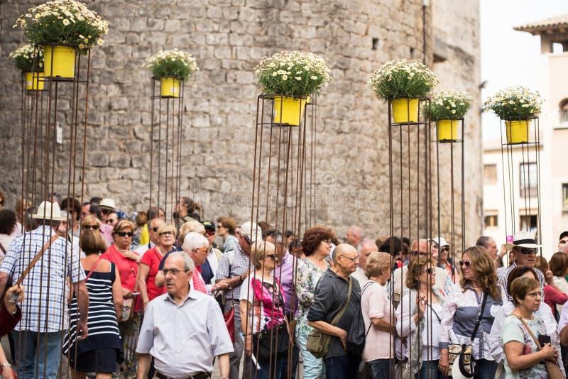 Girona arbetar tillfälligt de flors arkivbilder