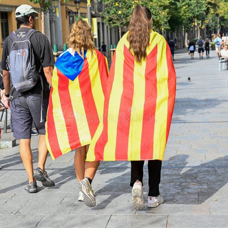Girona Catalonia Spain demonstrants walking through the city stock images