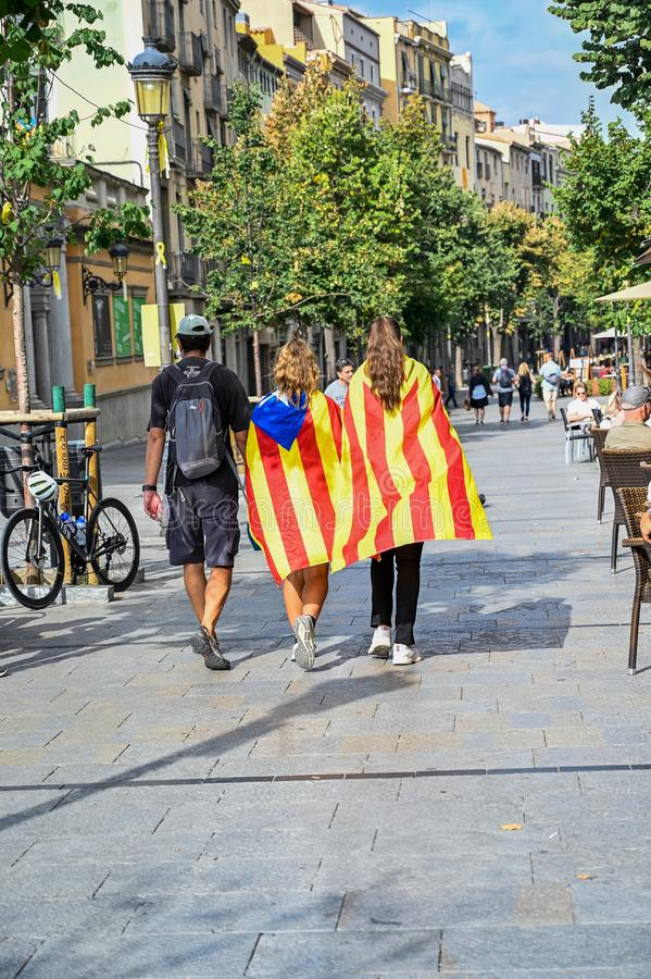 Girona Catalonia Spain demonstrants walking through the city stock photo