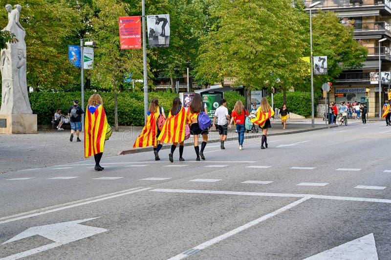 Girona Catalonia Spain demonstrants walking through the city royalty free stock photography
