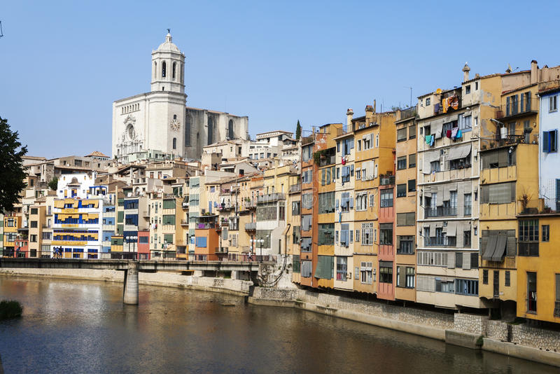 GIRONA, CATALONIA/SPAIN - MAY 13, 2015: The old quarter of Girona with Onyar river, Eiffel bridge and the cathedral. royalty free stock photo