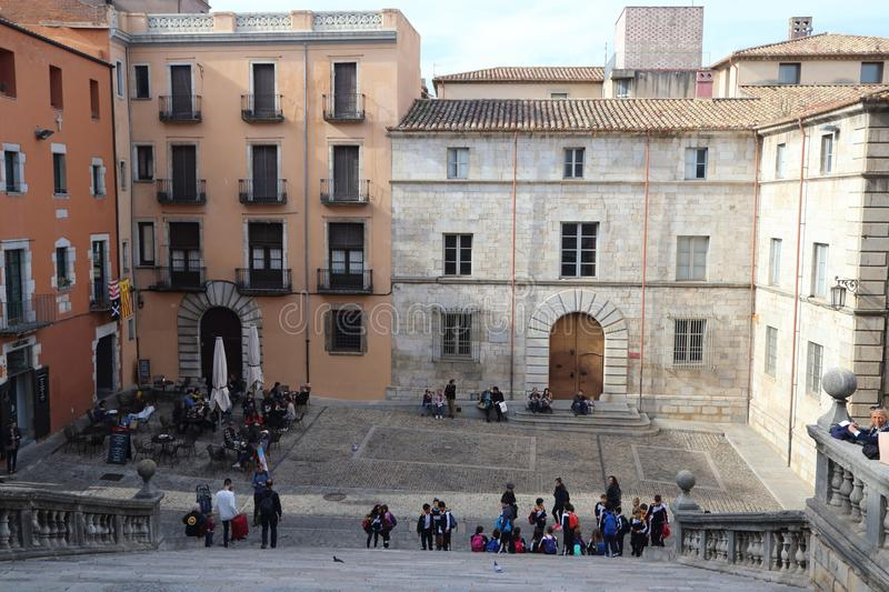GIRONA, CATALONIA / SPAIN - November 1, 2017: View of the old to stock photography