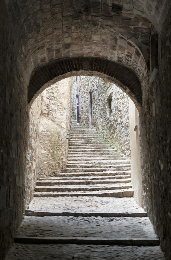 Girona Catalunya, Ισπανία, παλαιά οδός στοκ εικόνα με δικαίωμα ελεύθερης χρήσης