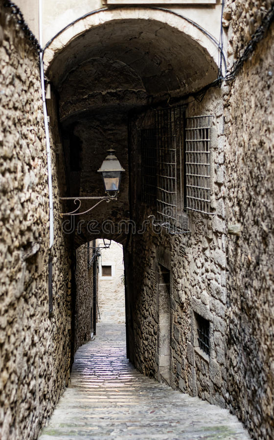 Girona Catalunya, Ισπανία, παλαιά οδός στοκ φωτογραφία με δικαίωμα ελεύθερης χρήσης
