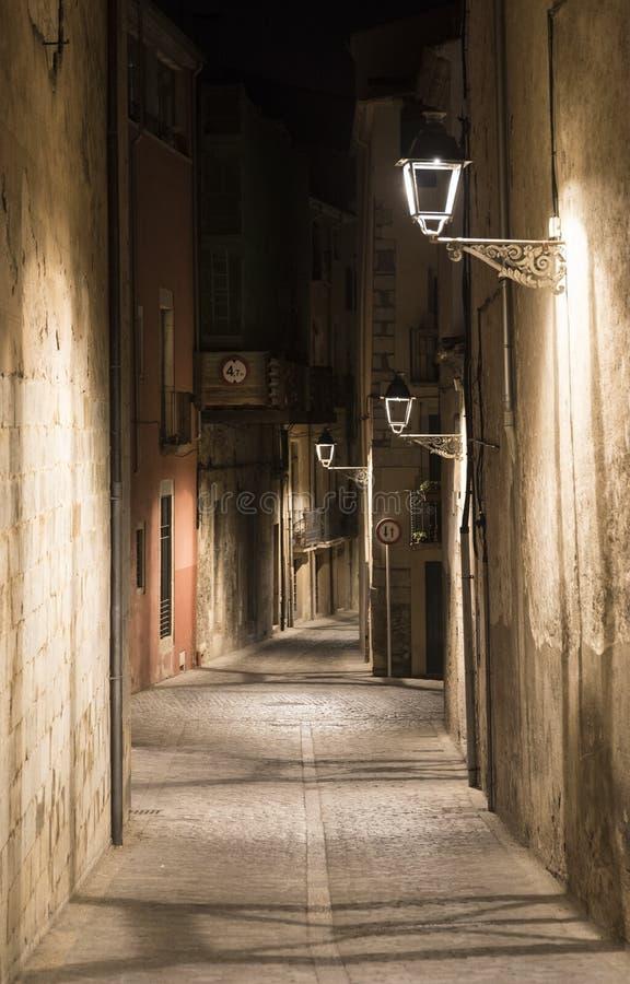 Girona Catalunya, Ισπανία τή νύχτα στοκ φωτογραφία με δικαίωμα ελεύθερης χρήσης