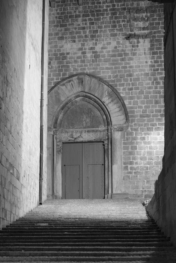 Girona Catalunya, España por noche foto de archivo