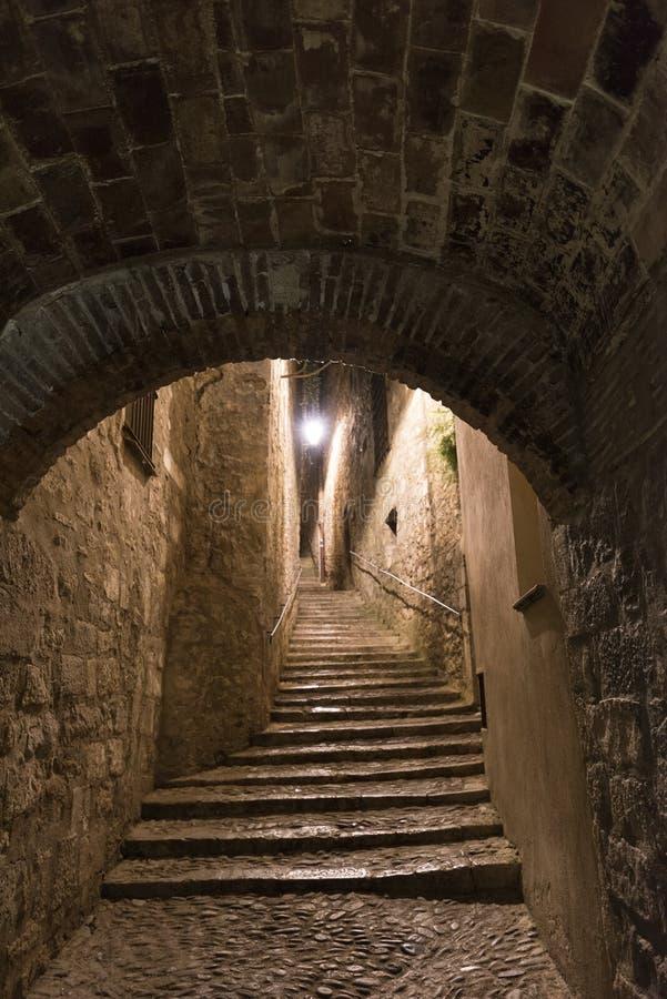 Girona & x28 Catalunya, Spain& x29  τή νύχτα στοκ εικόνες
