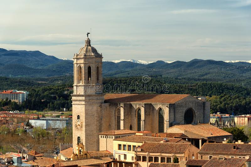 Girona cathedral aerial view royalty free stock image