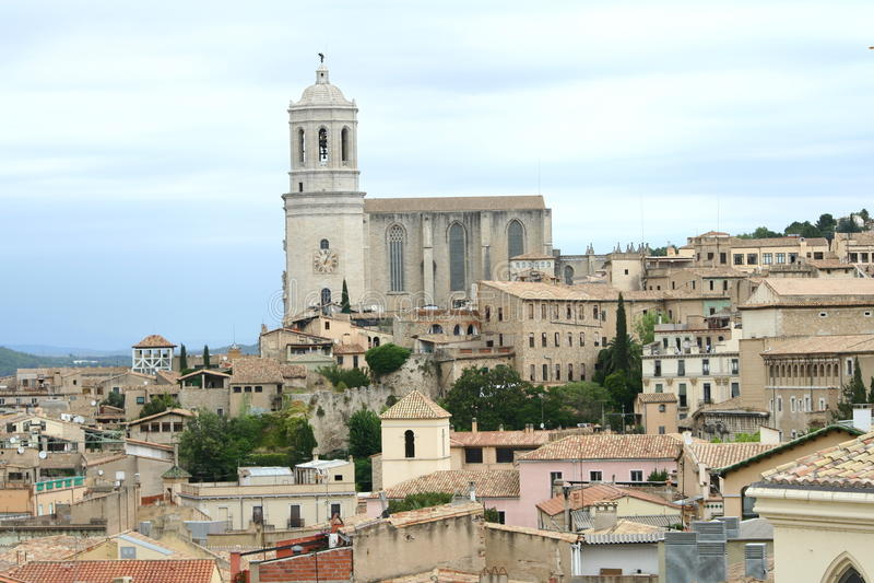 Girona cathedral stock image