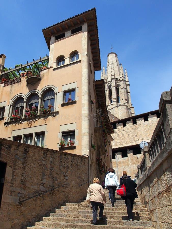 Stepped Walkway, Girona, Spain stock photography