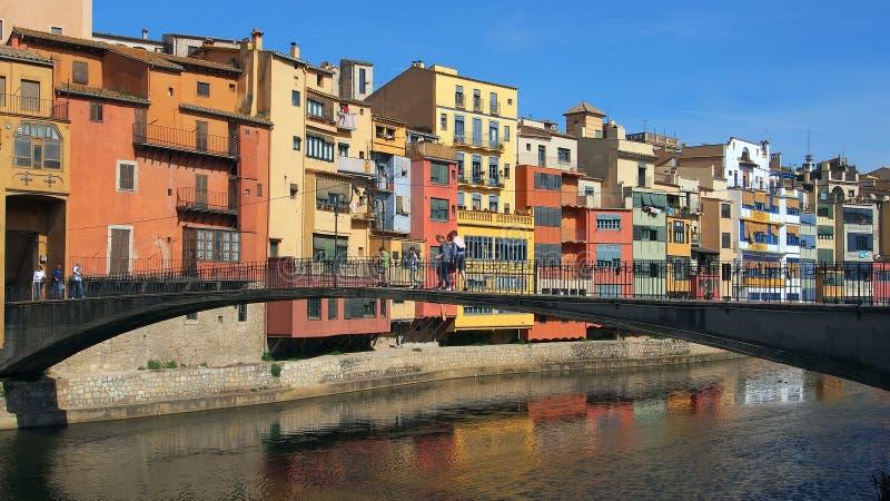Girona, Colourful Apartments royalty free stock image