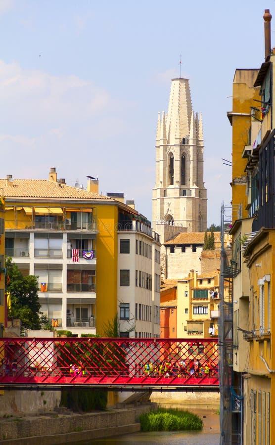 Girona De brug van Eiffel stock fotografie