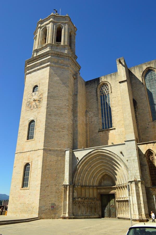 Girona domkyrka, historisk mitt, Catalonia, Spanien royaltyfria bilder