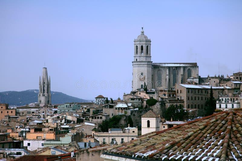 Girona en la nieve. fotografía de archivo libre de regalías