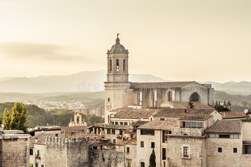 Girona katedra obrazy royalty free