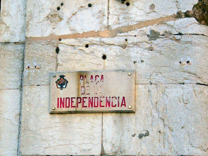 Bullet Scarred Facade, Girona, Spain stock photo