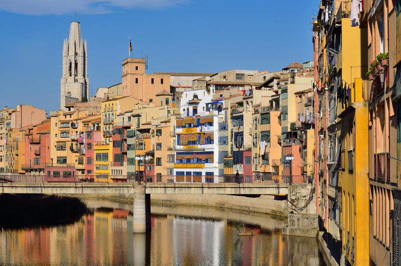 Girona, Spain. Colorful houses with Cathedral at the background in Girona, Spain royalty free stock photos