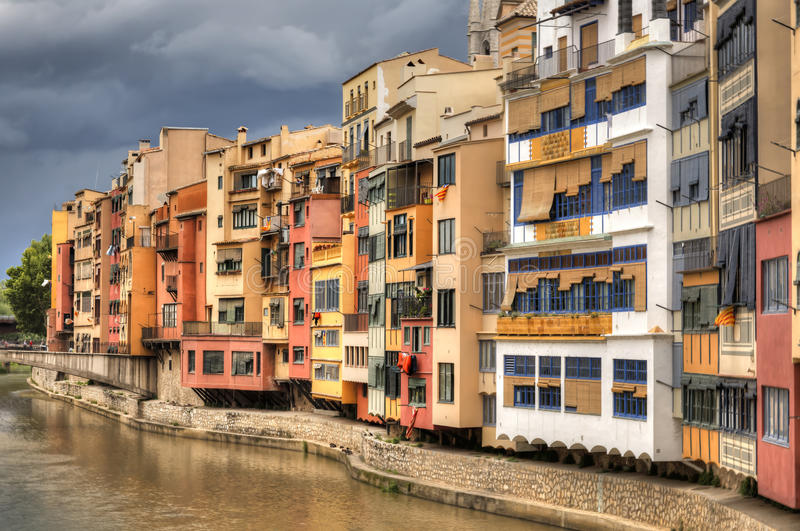 Girona, Spain. A view from a bridge in Girona, Spain royalty free stock image
