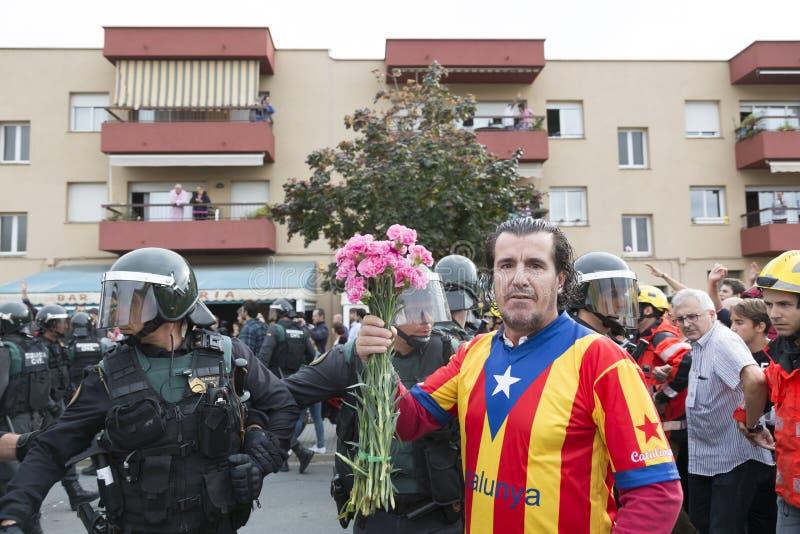GIRONA-SPAIN votos da independência de Catalonia do 1º de outubro imagem de stock