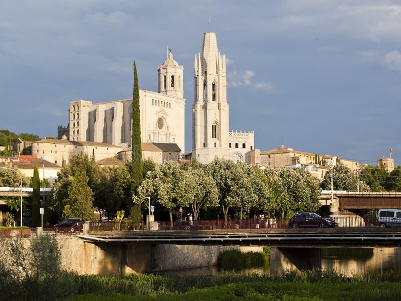 girona Spain Widok miasto i katedra święty Mary obraz royalty free