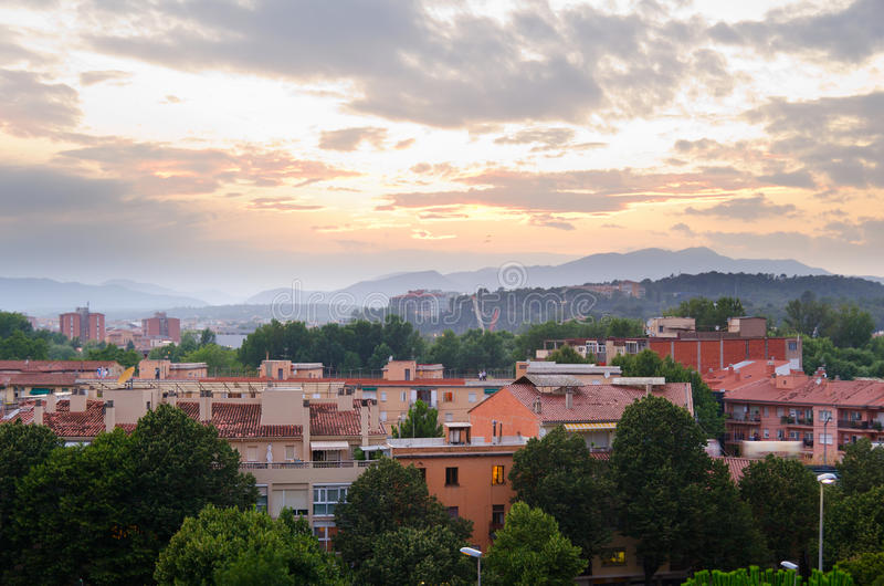 Girona stadsmening stock fotografie