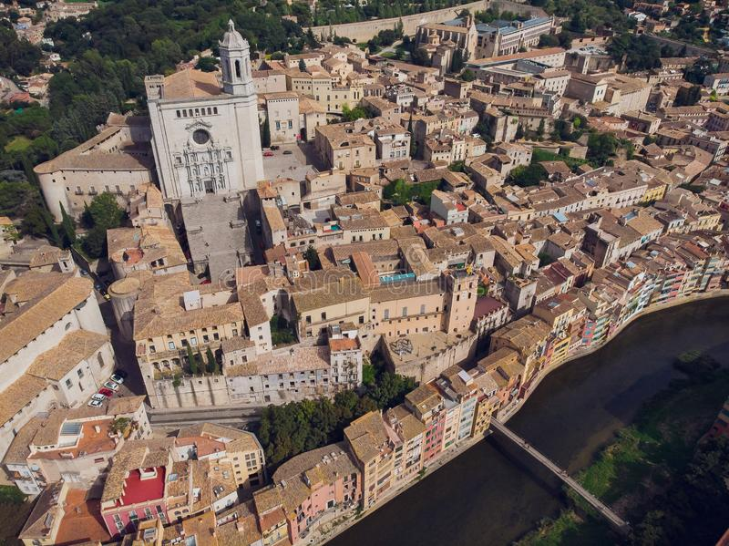 Girona - town in Catalonia, Spain. Onyar River bridge, colorful mediterranean architecture. Prominent cathedral stock photos