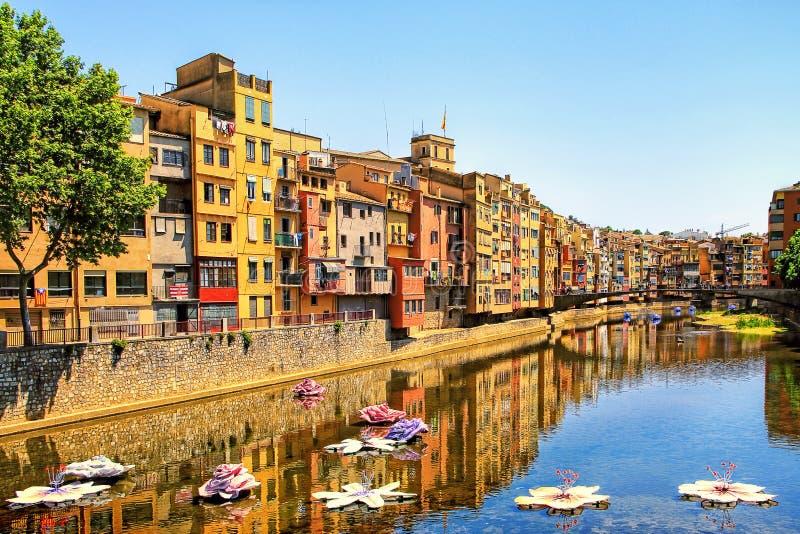 """Girona under blommafestival†""""Girona arbetar tillfälligt de Flors, Catalon royaltyfri fotografi"""