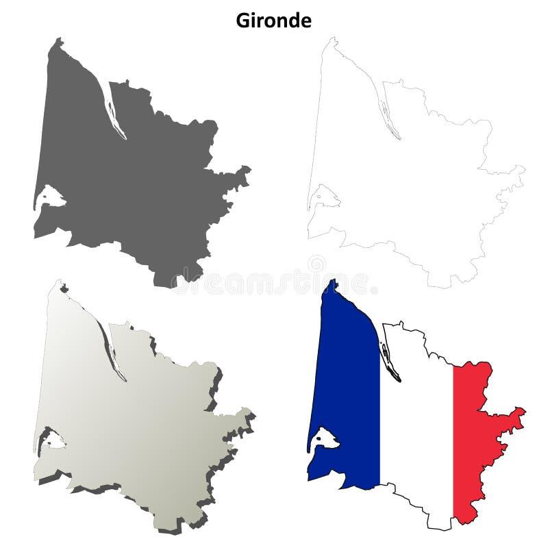 Gironde, Aquitaine σύνολο χαρτών περιλήψεων διανυσματική απεικόνιση
