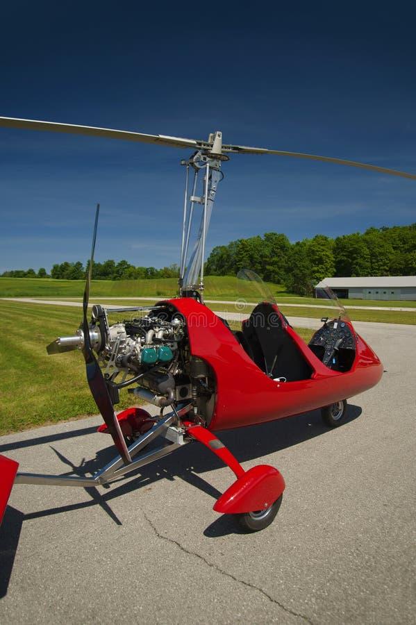 Giroplano rosso della aperto cabina di pilotaggio fotografia stock